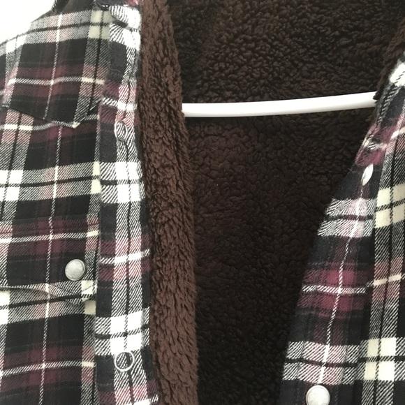 Uniqlo Tops - Purple, Black, Cream Flannel with Fleece Inside